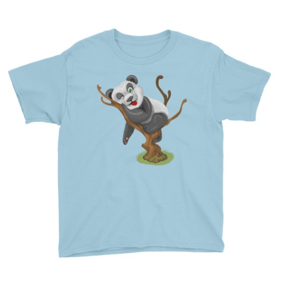 Playful Baby Panda Sticking His Tongue Out Youth Short Sleeve T-Shirt