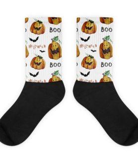 Pumpkings Pattern Black foot socks