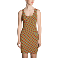 Red Lime Green Cyan Gingham Penta Striped Orange Dress