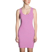 Squares Pink Checkered White Dress