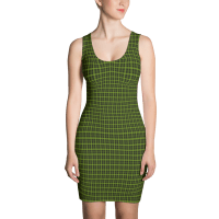 Striped Quad Gingham Black Lime Dress