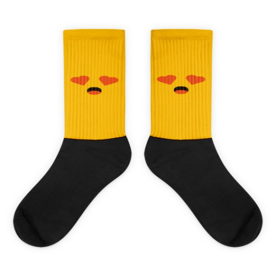 Yellow Face, Heart shaped Eyes With Open Mouth Black foot socks