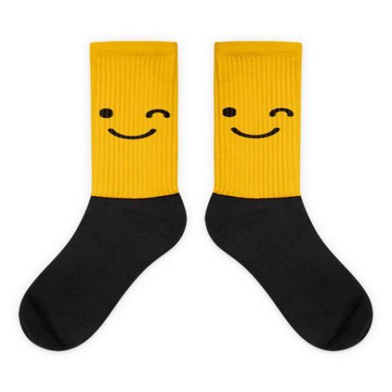 Yellow Winking Face Black foot socks