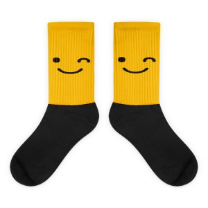 Yellow Winking Face Black foot socks