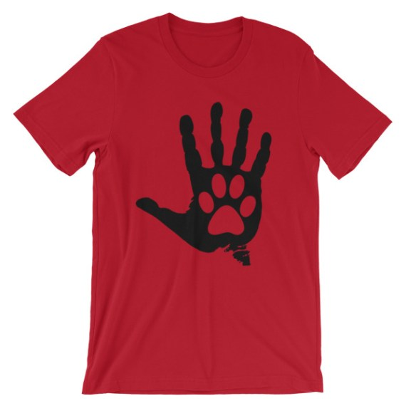 Unisex Black Hand And Paw short sleeve t-shirt