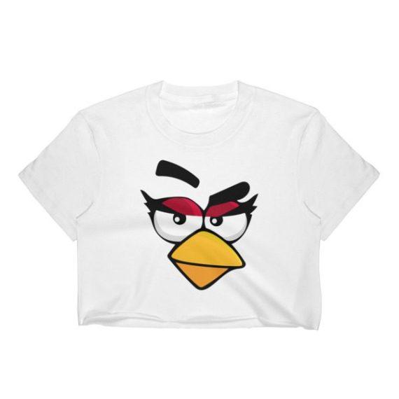 Women's ANGRY CARDINAL BIRD FACE Crop Top