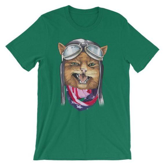 Unisex American Grumpy Kitty Cat short sleeve t-shirt