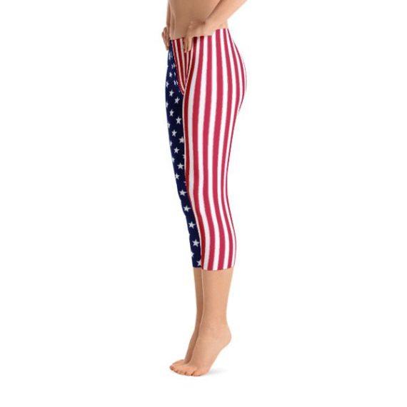 American Flag Capri Leggings