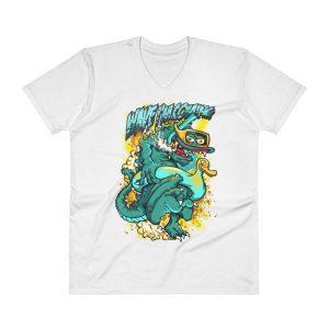 Comic Print V-Neck T-Shirt
