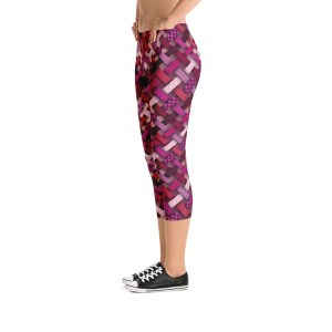 Hearts-Stripes Capri Leggings