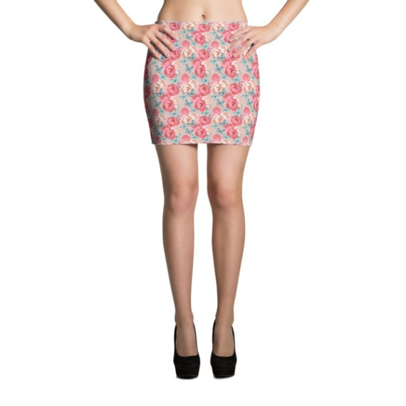 Roses and Butterfly Mini Skirt
