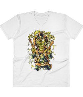 Western Skull V-Neck T-Shirt