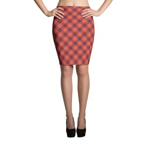 Women's Red Plaid Tartan Pencil Skirt
