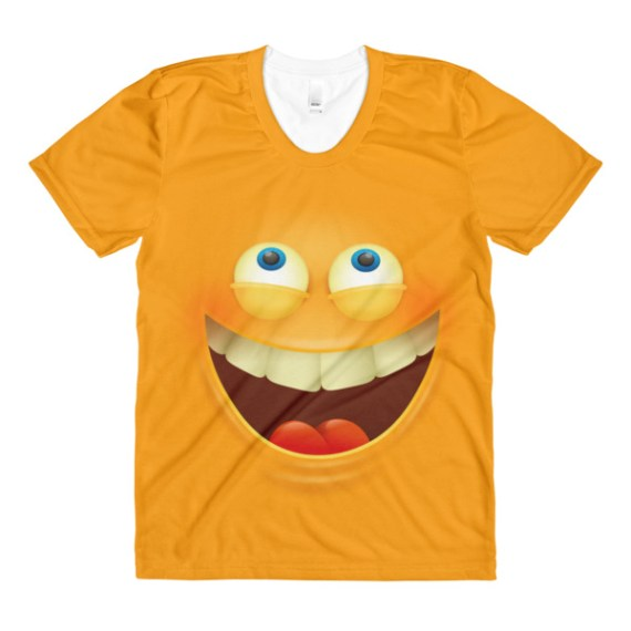 women's Funny Laughing Face T-Shirt - Funny Laughing Face Emoji crew neck t-shirt