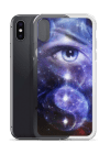 blue women eye , with space and stars, with symbol yin yang iPhone Case