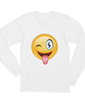 Unisex Stuck out tongue and winking eye Emoji Long Sleeve T-Shirt