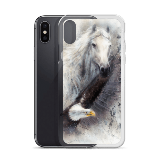 white horse with a flying eagle iPhone Case