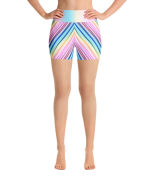 Adorable Geometric Multicolored Stripes Yoga Short Pants with a Small Inner Pocket