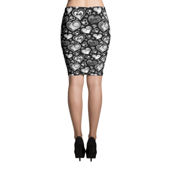 Black & White Queen of Hearts Pencil Skirt