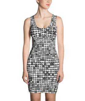 Black and Silver Glitter Hearts Dress