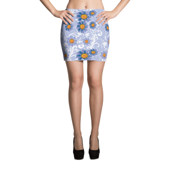 Blue Flowers with White Ornament Mini Skirt