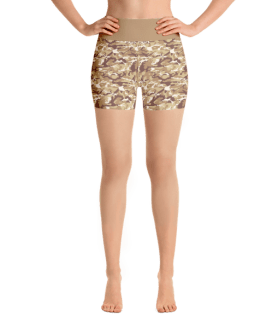 Brown Army Camouflage Yoga Short Pants with a Small Inner Pocket