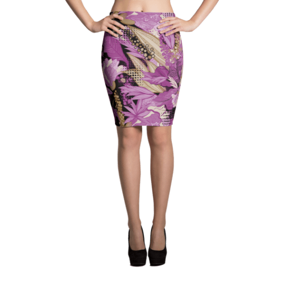 Colorful Bright Flowers Pencil Skirt