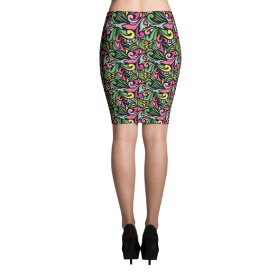 Colorful Eye catching Oriental Ornaments Pencil Skirt