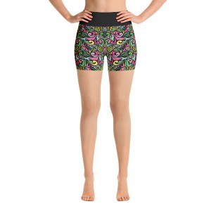 Colorful Oriental Ornaments Yoga Short Pants with a Small Inner Pocket
