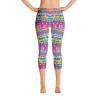 Colorful Stripes with Love Hearts and Butterflies Capri Leggings