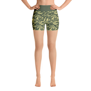 Dark Olive Green Army Camouflage Yoga Short Pants with a Small Inner Pocket