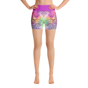 Elegant Colorful Flowers Yoga Short Pants with a Small Inner Pocket