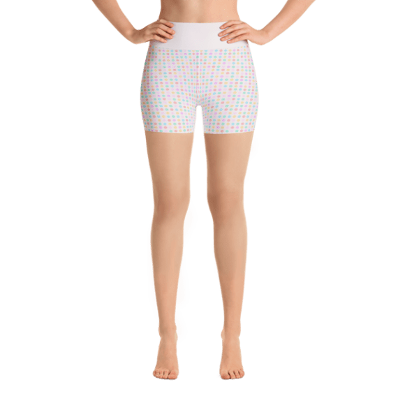 Elegant Multicolored Dots Yoga Short Pants with a Small Inner Pocket