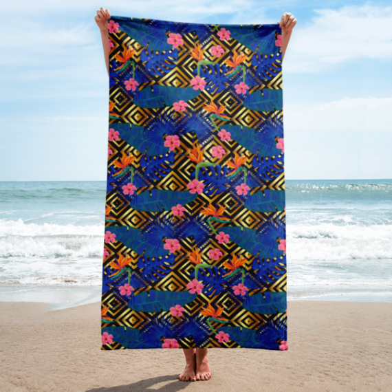 Gold Background with Blue Palm Leaves and Pink Tropical Flowers Towel