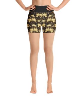 Gold Flowers Yoga Short Pants with a Small Inner Pocket