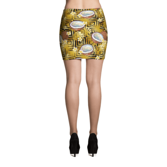 Gold Luxury Print with Coconut, Palm Leaves and Tropical Frangipani Flowers Mini Skirt