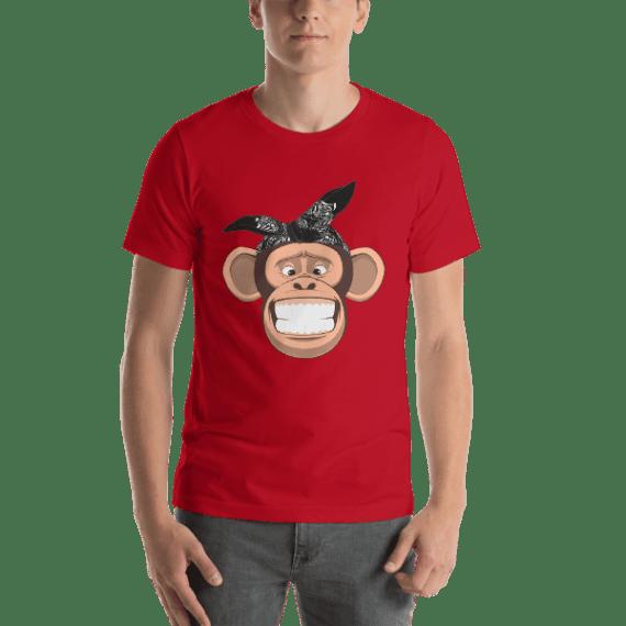 Happy Monkey Face Short Sleeve Unisex T-Shirt