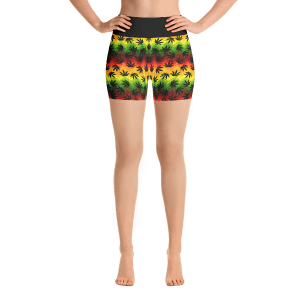 Hemp leaves Yoga Short Pants with a Small Inner Pocket