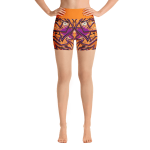 Orange Urban Style Yoga Short Pants with a Small Inner Pocket