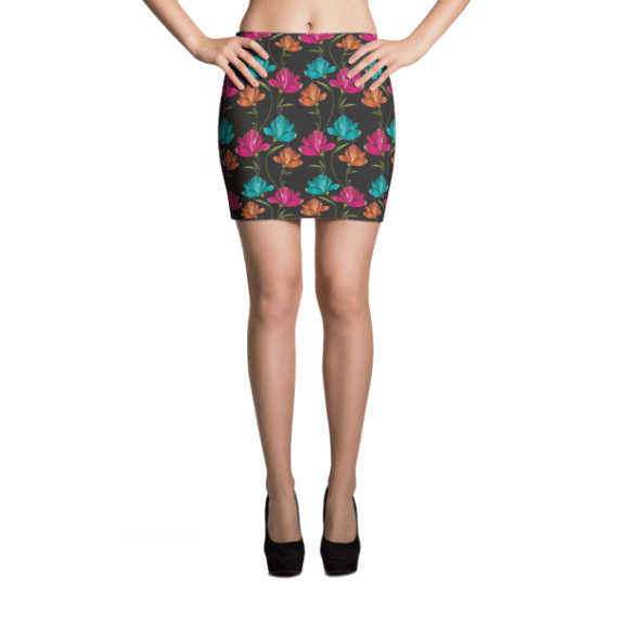 Pink, Green and Blue Flowers on Black Mini Skirt