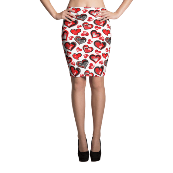 Queen of Hearts Black Red Pencil Skirt