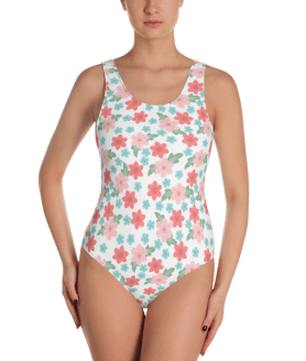 Red, Pink and Blue Flowers One-Piece Swimsuit - Women's Beachwear Bathing Suit