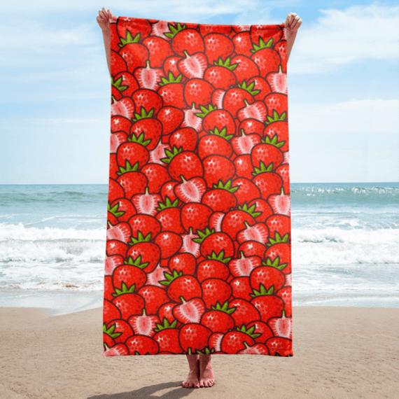 Red Strawberries Towel