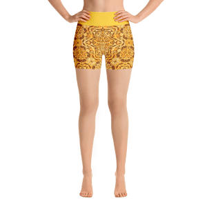 Rich Gold Ornaments Yoga Short Pants with a Small Inner Pocket