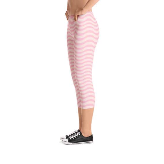 Romantic Pink and White Waves Capri Leggings