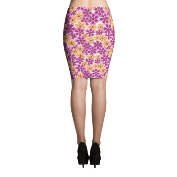 Sandy Brown and Magenta Pencil Skirt