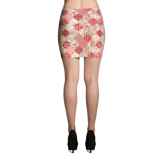 Sexy Vintage Patchwork Flowers and Butterflies Mini Skirt