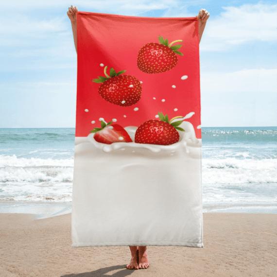 Strawberry in Milk Splash Towel