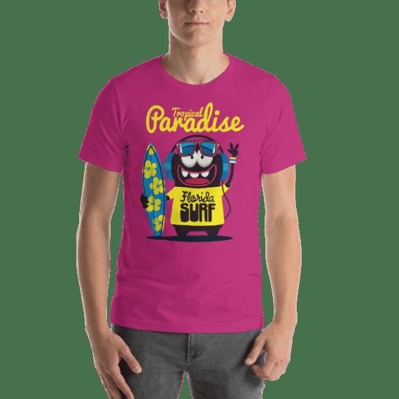 Tropical Paradise - Florida Surfer Monster Short Sleeve Unisex T-Shirt