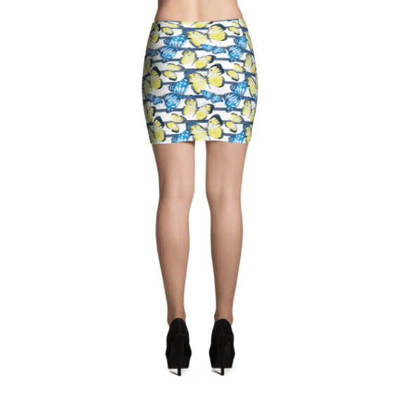 Water-colored Butterflies on Blue Stripes Mini Skirt